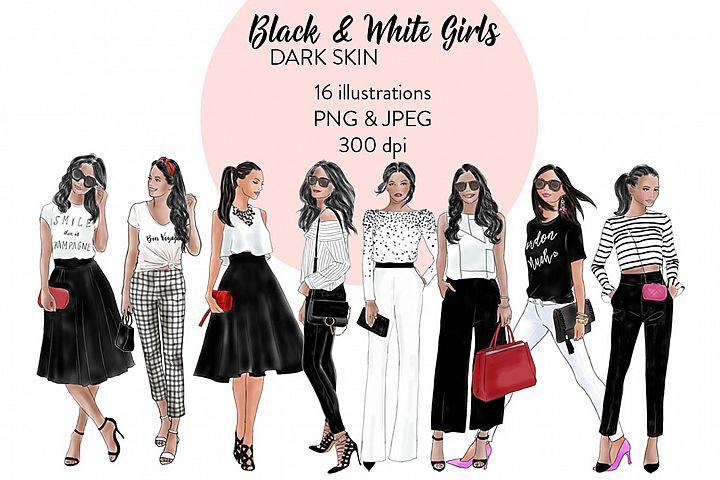 Black & White girls 1 - Dark skin, fashion clipart