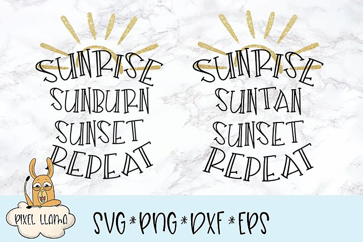 Sunrise Suntan Sunburn Sunset Repeat Bundle SVG Cut File