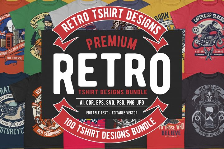 100 Retro Tshirt Designs Bundle