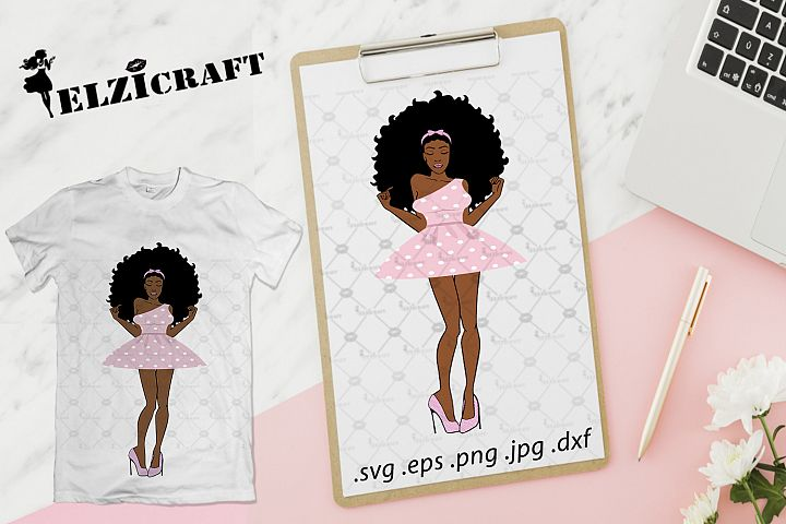 Afro Woman Barbie Doll SVG Cut File