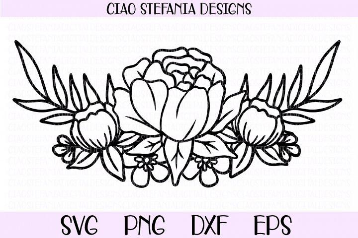 Peony Flower Bouquet Flowers Half Wreath SVG Cut File