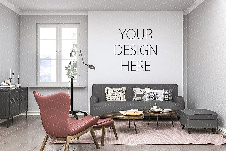 Interior mockup - artwork background