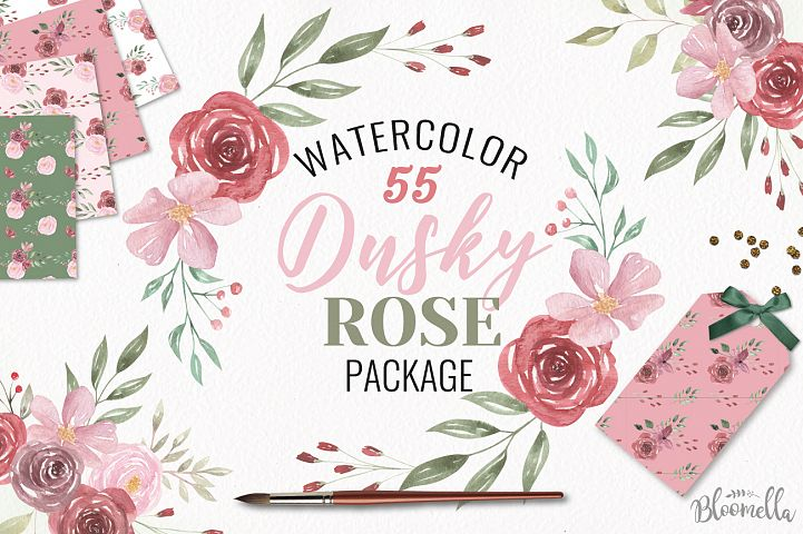 Dusky Rose Pink Red Floral Clipart Watercolor Flower Wedding