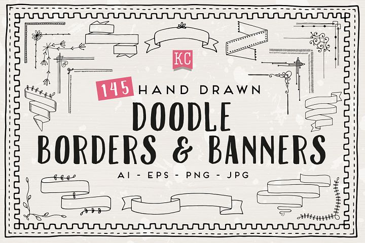Hand Drawn Doodle borders and banners