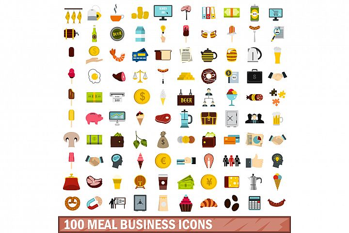 100 meal business icons set, flat style