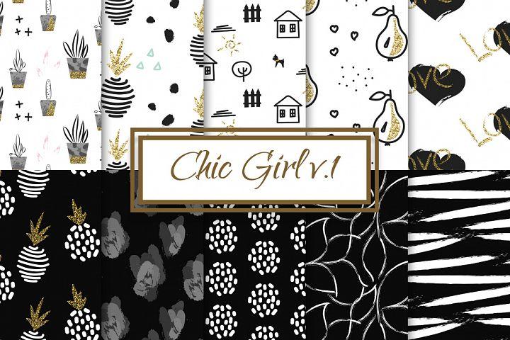 Chic Girl v1. - seamless patterns