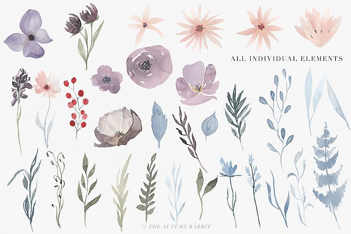 Watercolor Floral Clipart - Hazy Fields - Free Design of The Week Design 1
