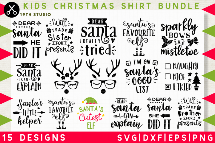 Kids Christmas shirt SVG Bundle | SVG DXF EPS PNG MB37