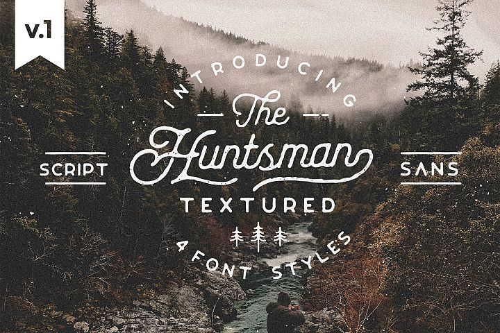 Huntsman Script & Sans Typeface, Rounded Roughed Ver.1