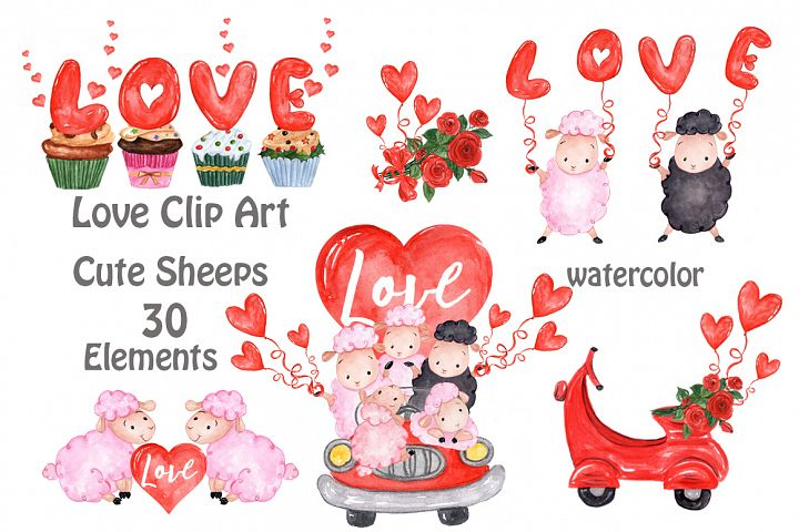 Valentines Day Cute sheep clipart