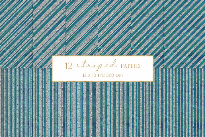 12 Silver Striped Digital Paper Pack