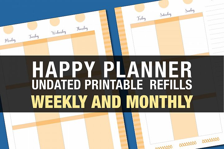 Orange Happy Planner Printable, undated, hydration tracker