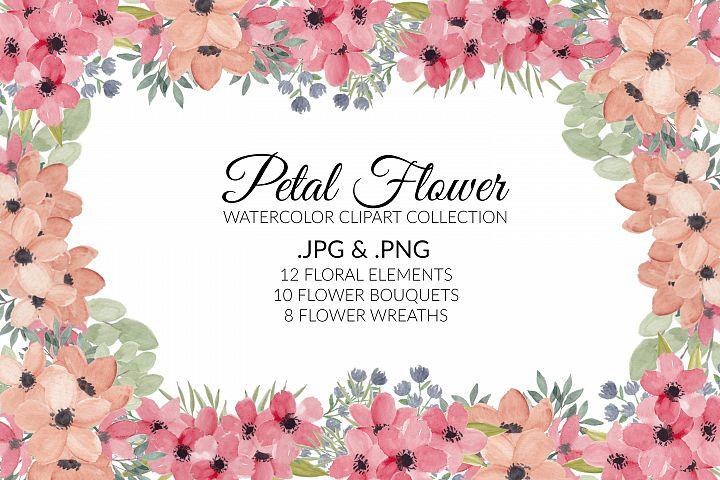 Petal Flower Watercolor Clipart Collection