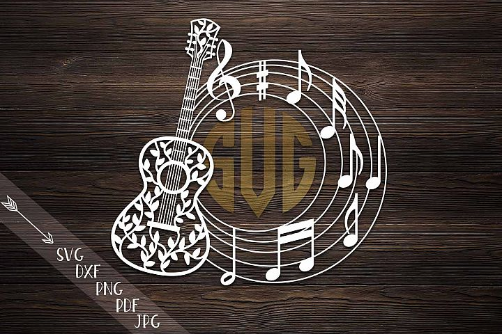 Musical note floral zentagle guitar monogram vinyl paper cut
