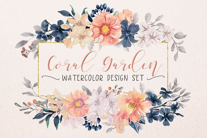 Coral Garden watercolor design set