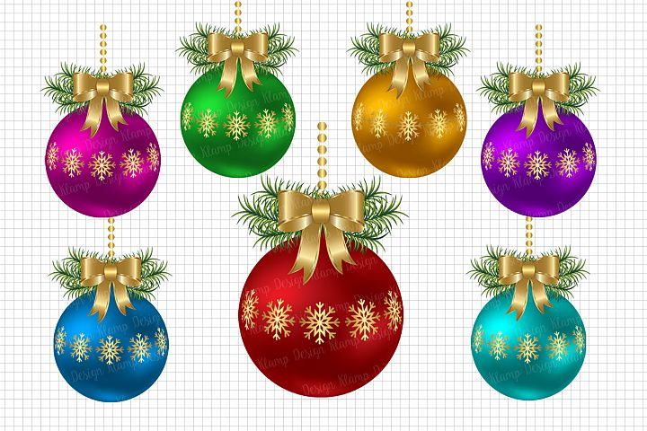 Christmas Balls Clipart, Christmas Graphic and Illustrations, Scrapbooking, Card Making, Decorations