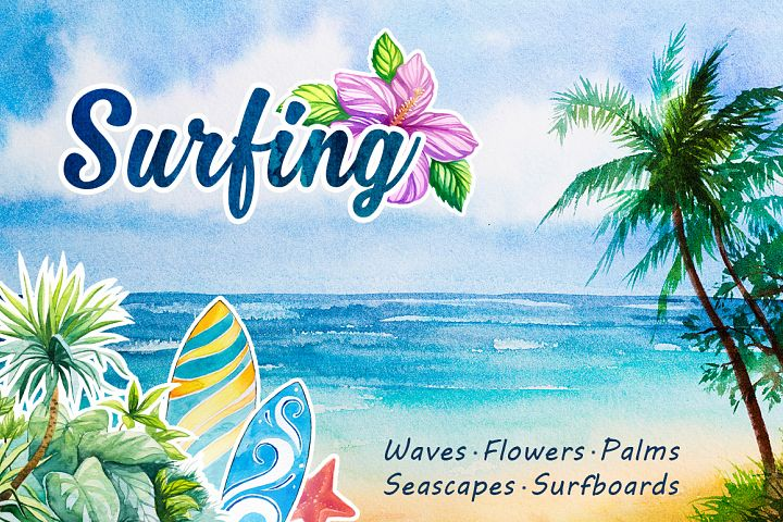 Surfing. Watercolor set.