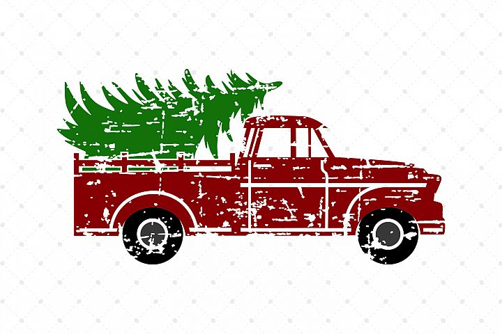 Distressed Christmas Tree Truck SVG Cut Files