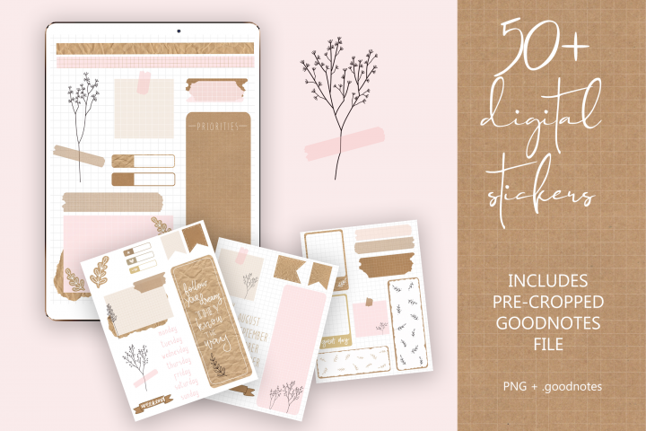 Digital Planner Stickers Craft Style PNG & GoodNotes file