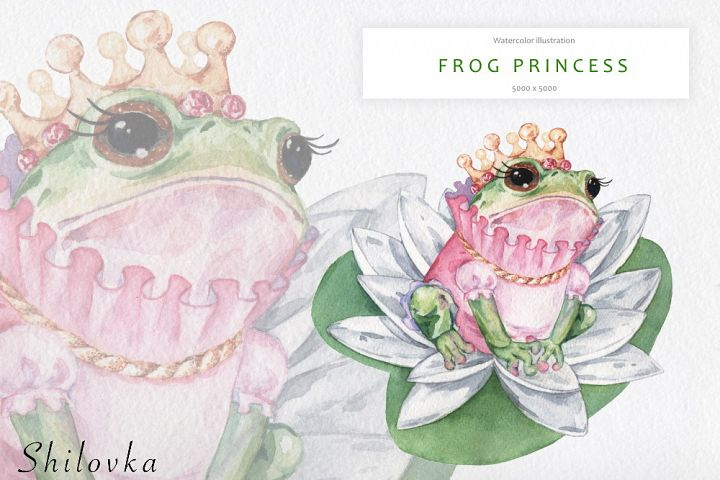The frog Princess. Watercolor