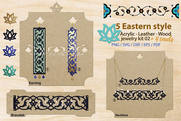 Eastern style acrylic leather wood jewelry kit 02