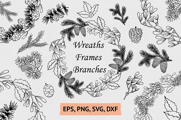 Hand Drawn Wreaths, Frames and Branches for Christmas