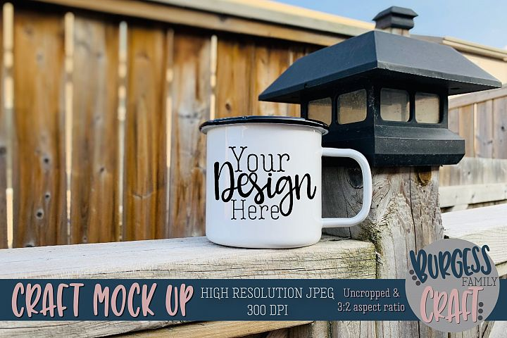 Mug on fence Craft mock up|High Resolution JPEG