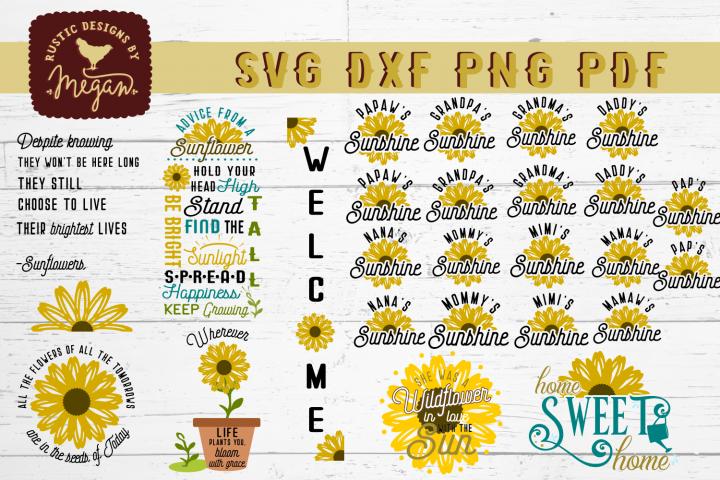 Sunflower SVG DXF Bundle Cut Files