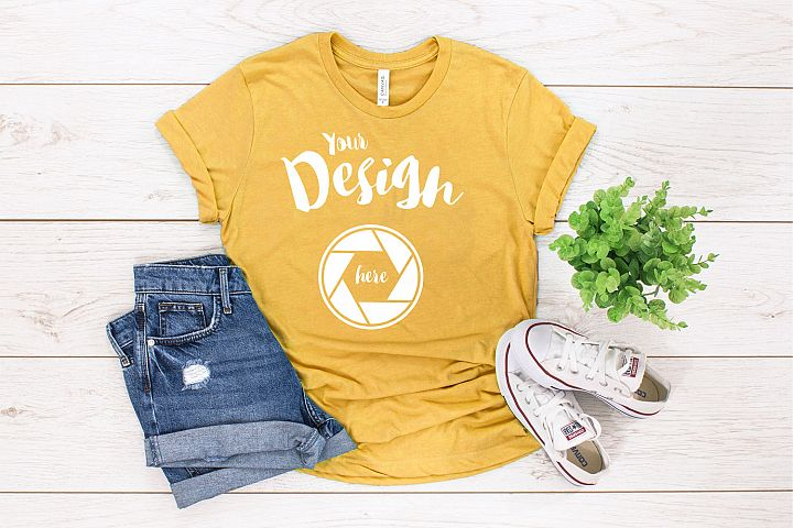 Gold Bella Canvas 3001 T Shirt Mockup