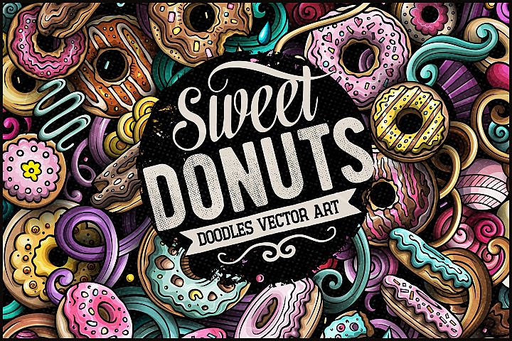 Donuts Vector Doodle Illustration