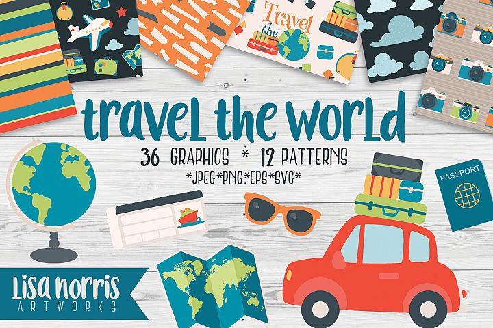 Travel the World Clip Art Graphics, Patterns, & SVGs