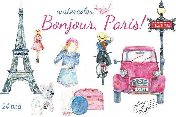 Bonjour, Paris watercolor clip art