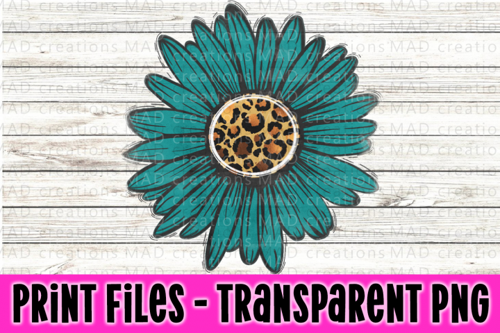 Teal and Leopard Print - Rustic Sunflowers - Print Files