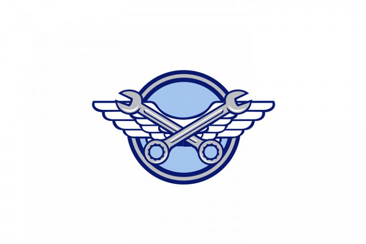 Crossed Spanner Air Force Wings Icon