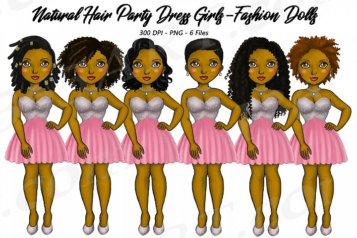 Party Dress Girls Natural Hair Clipart, Black Girl Dolls