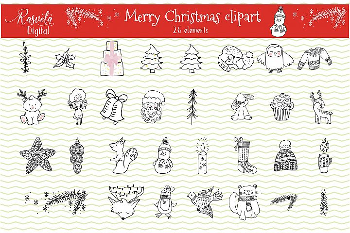 Christmas card kit Decor clipart