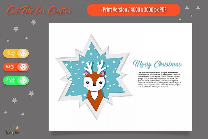 Christmas Star Paper Cut - Deer