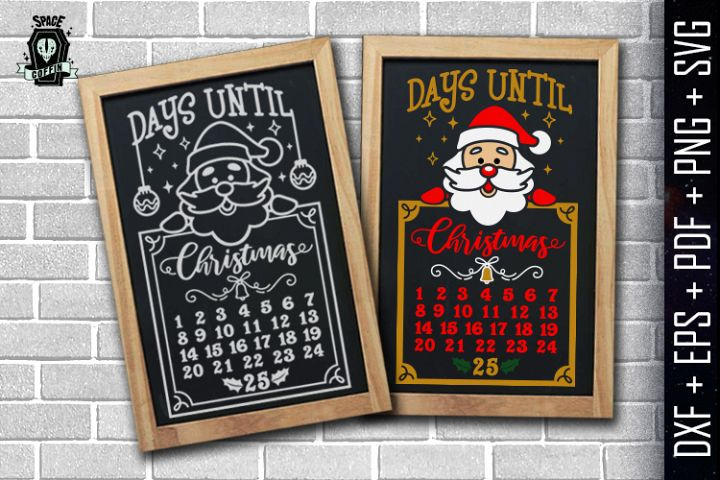 Days until christmas vector, santa Claus dxf eps pdf png svg