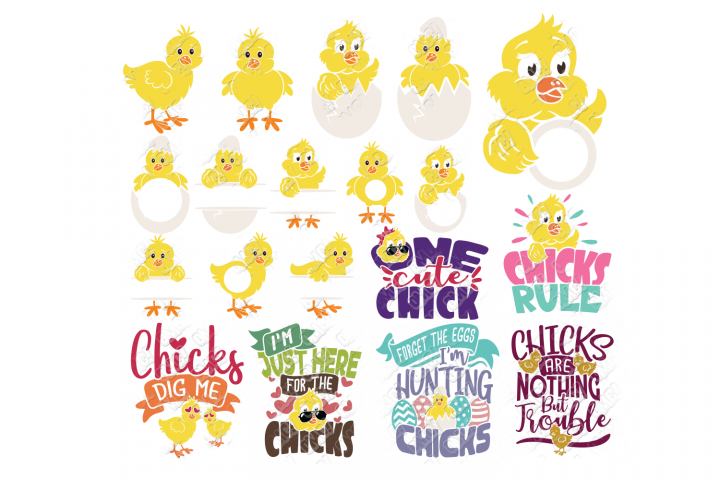 Easter Chick SVG Monogram Quotes in SVG, DXF, PNG, EPS, JPEG