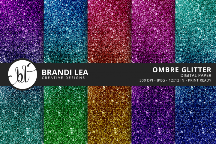 Ombre Glitter Digital Paper - Free Design of The Week