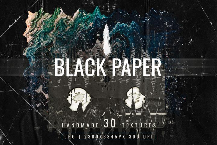 Black paper runge retro digital background textures pack