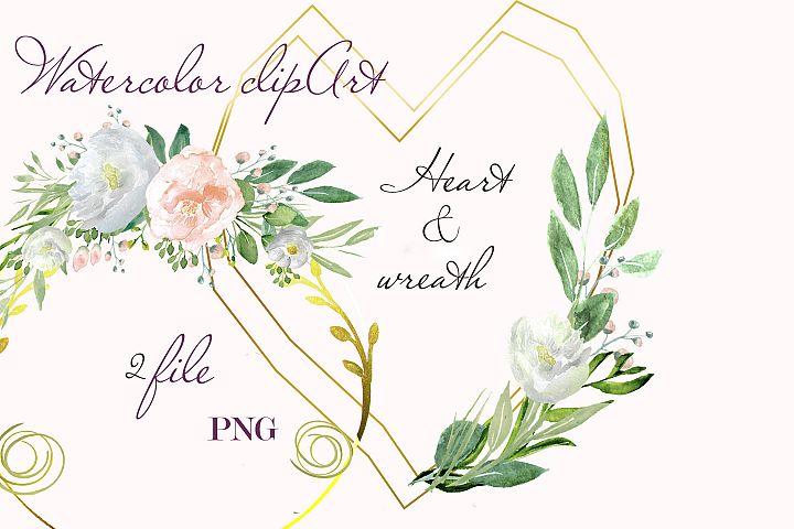 Watercolor clipart green design invite gold frame