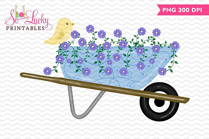 Spring Wheelbarrow painted printable sublimation design