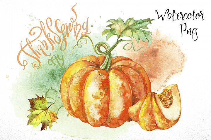 Thanksgiving day. Set of watercolor clipart.