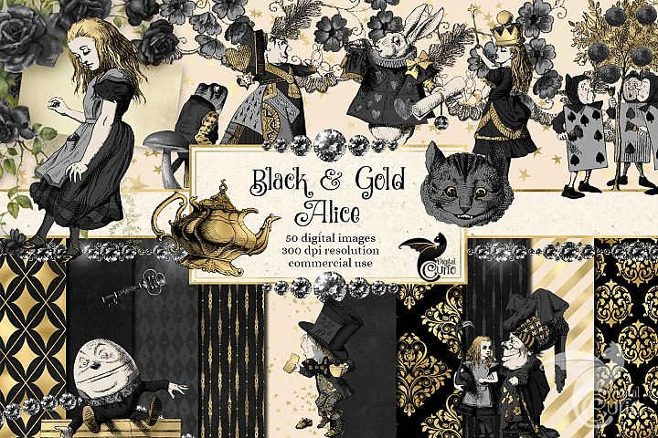Black and Gold Alice in Wonderland Graphics