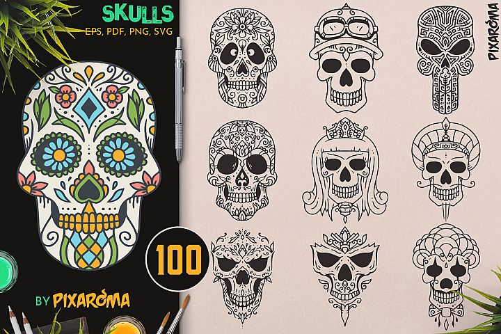 100 Decorative Skulls