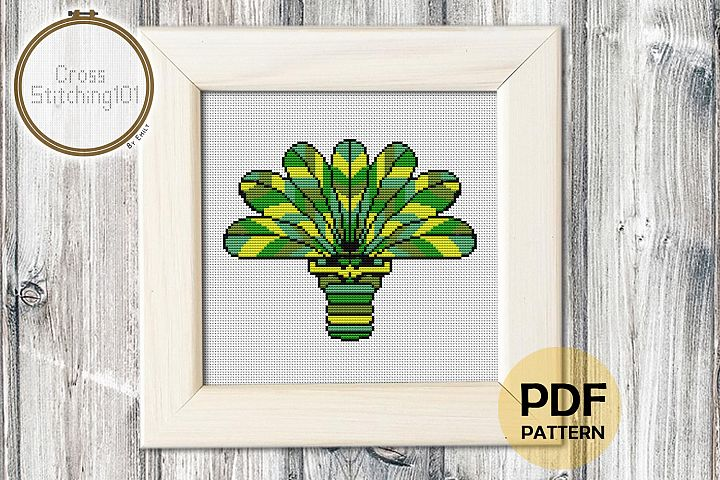 Palm Tree Cross Stitch Pattern - Instant Download PDF