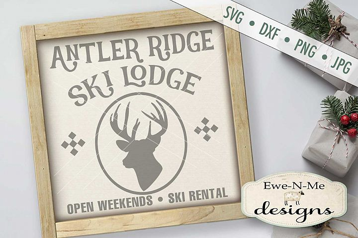 Antler Ridge Ski Lodge Christmas Winter Deer SVG DXF Files
