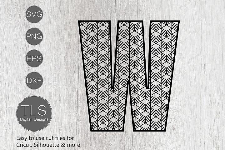 Geometric Pattern Letter W SVG, Letter W SVG Cut file