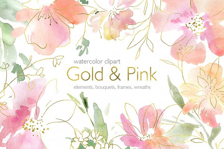 Watercolor Pink and Gold Flowers Frames Wreaths PNG